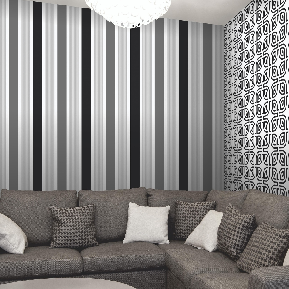 Magnum Stripe Wallpaper Black / Silver / White (FD40016) Part 85
