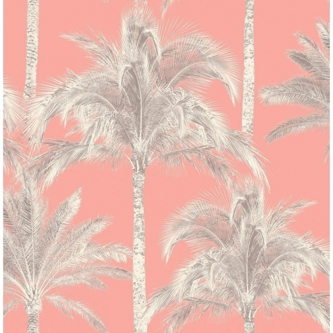 Fine Decor Miami Palm Tree Wallpaper Coral (FD40905)