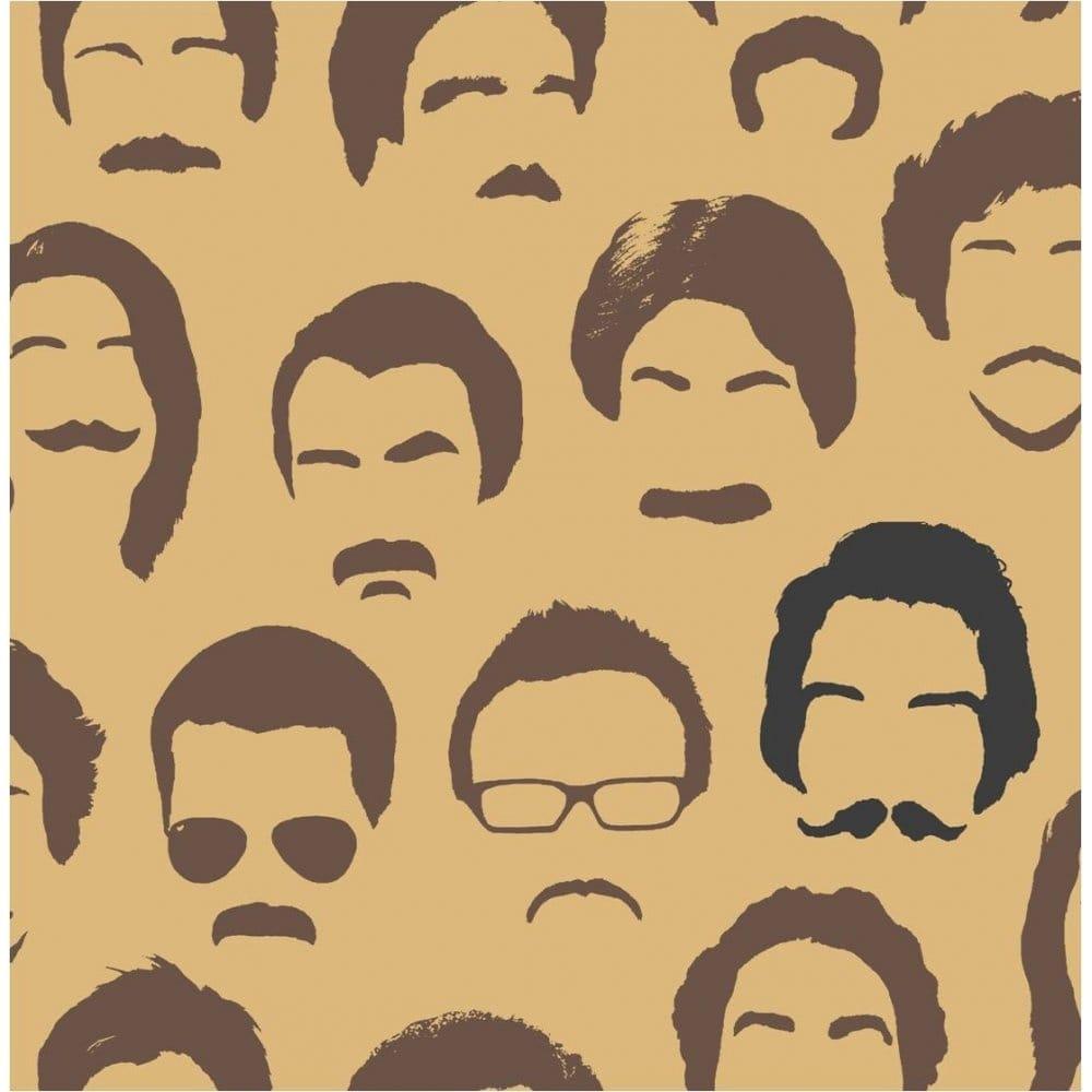 Buy Fine Decor Movember Moustache Wallpaper Gold Brown