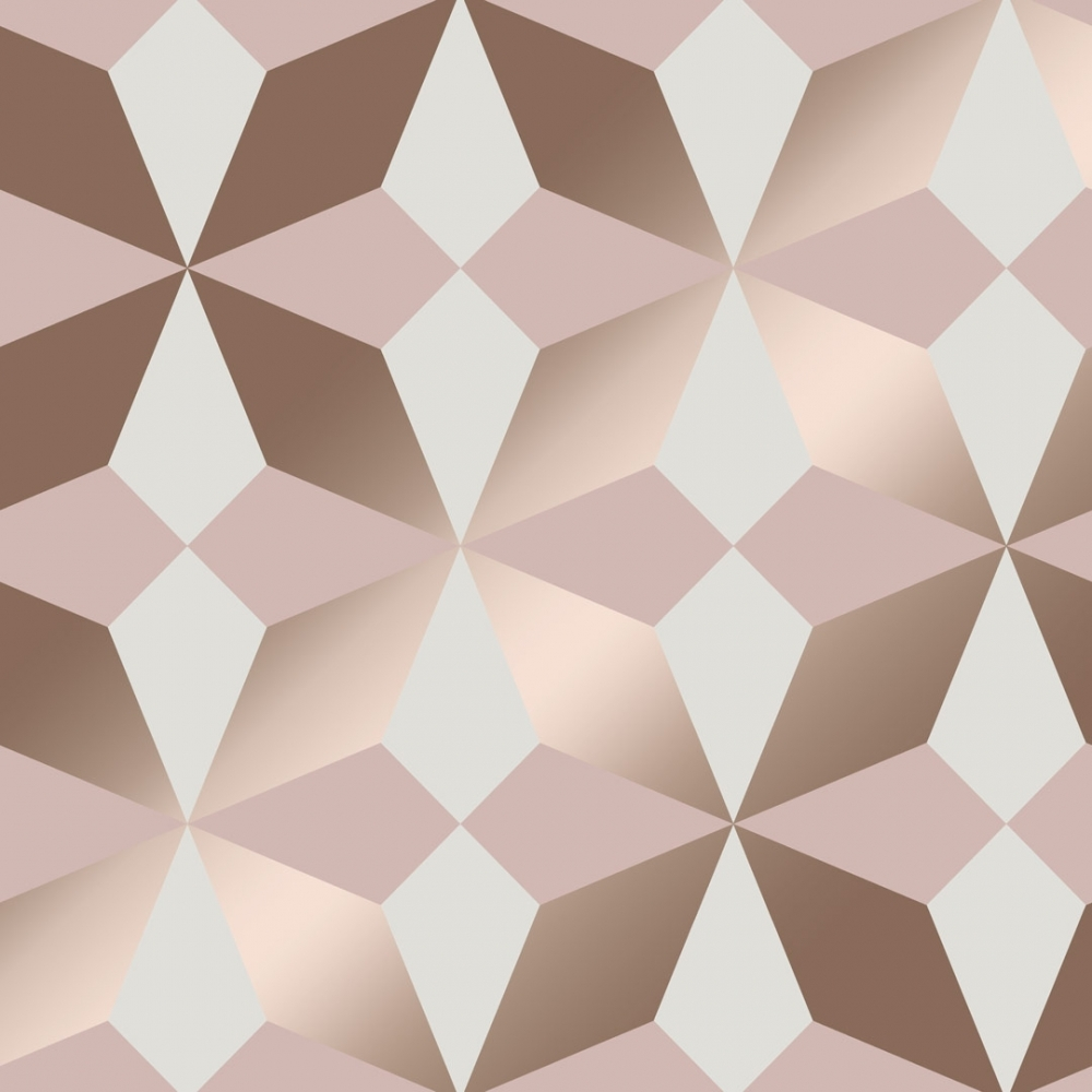 Nova Geometric Wallpaper Rose Gold