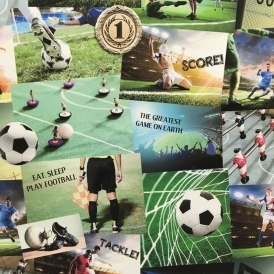 Novelty Football Collage Wallpaper Multicoloured (FD41915)