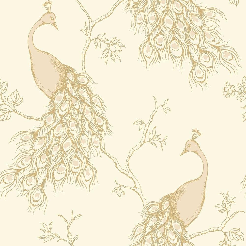 Fine Decor Peacock Empress Wallpaper Cream Gold Fd40711