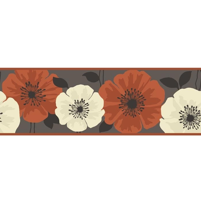 Buy Fine Decor Poppie Wallpaper Border Brown Orange