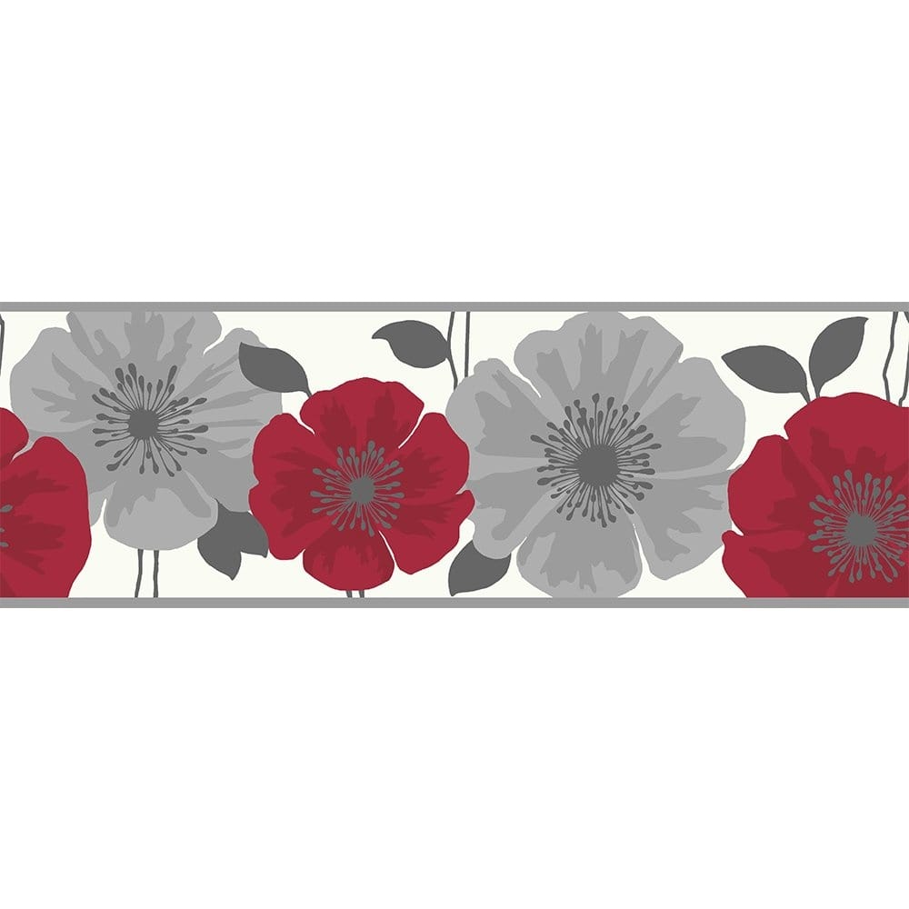 Buy Fine Decor Poppie Wallpaper Border Red White Silver