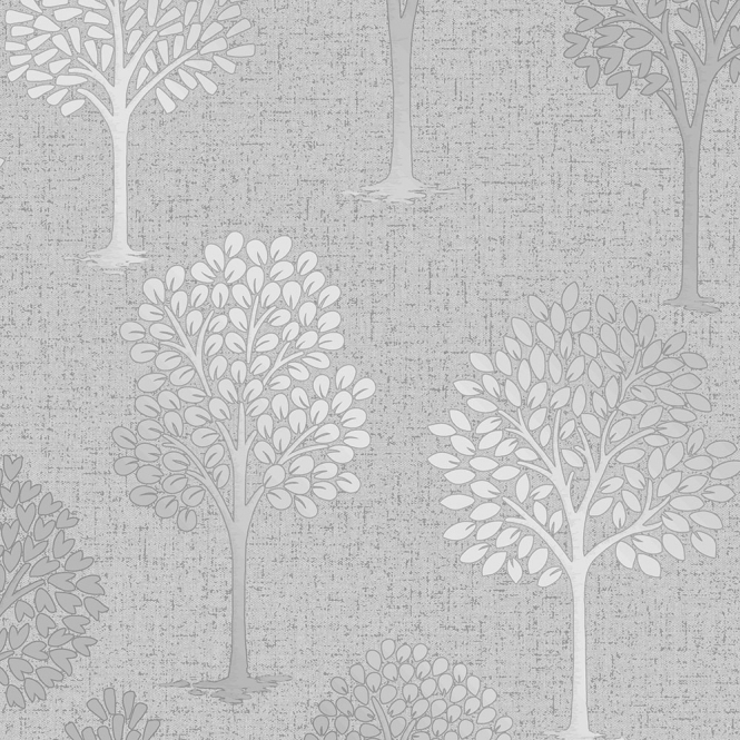 Fine Decor Quartz Tree Wallpaper Silver (FD42200)