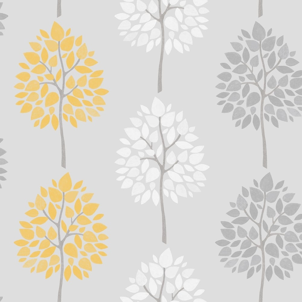 Fine decor riva tree wallpaper yellow white grey for Gray and white wallpaper designs