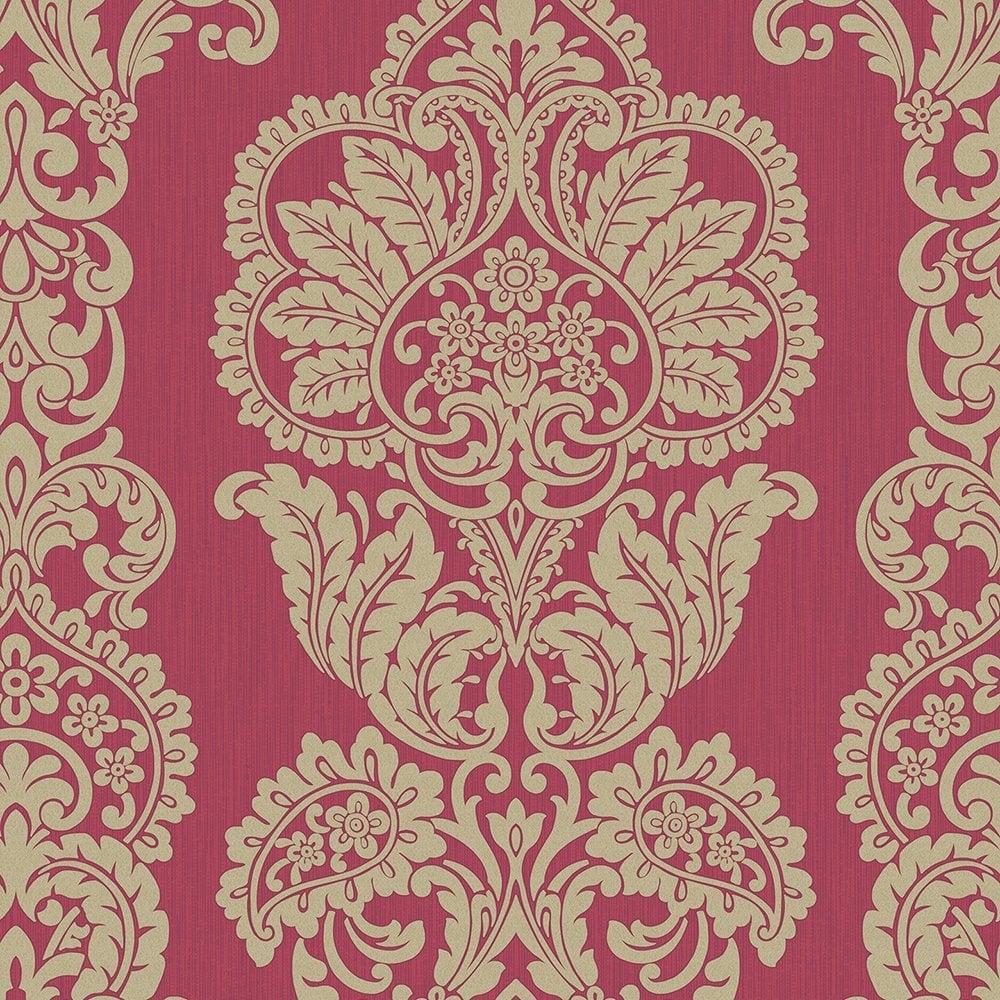 Rochester Damask Textured Glitter Wallpaper Red Gold FD40897
