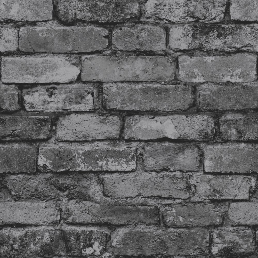 Rustic Brick Wallpaper Black Charcoal Fd31284