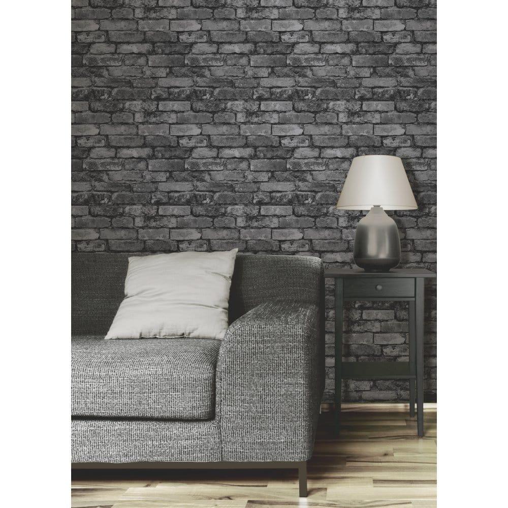 Brick Style Wallpaper Part - 43: Rustic Brick Wallpaper Black / Charcoal (FD31284)