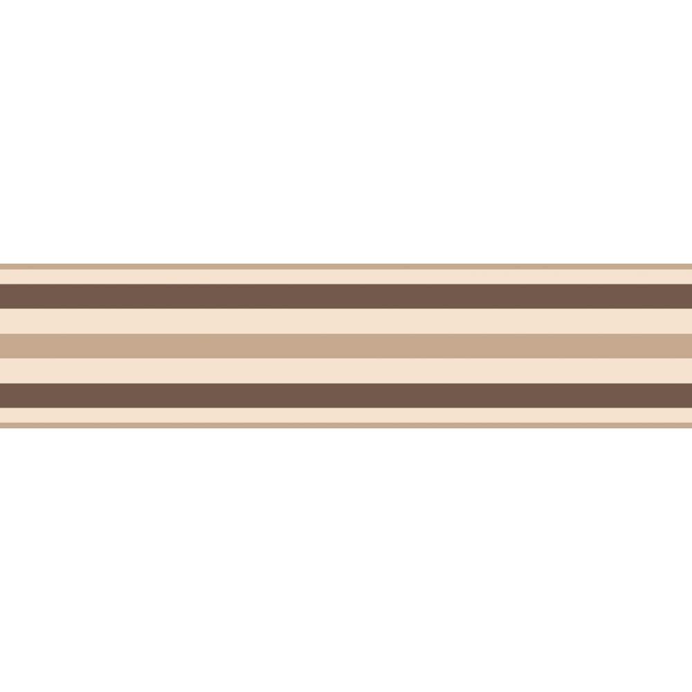 fine decor sample ceramica stripe border natural chocolate brown