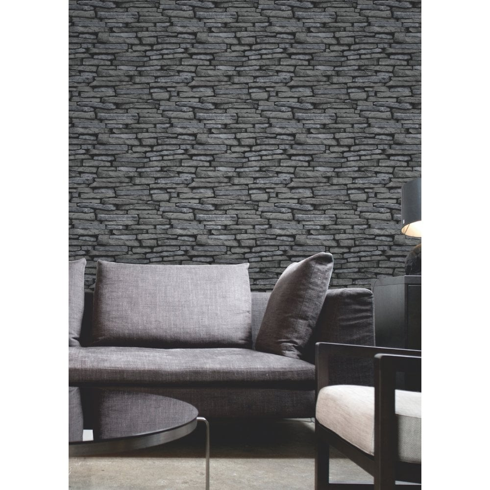Fine Decor Slate Effect Wallpaper Black Charcoal FD31291
