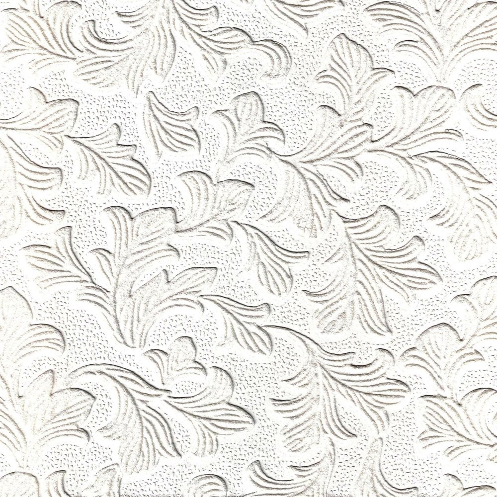 Fine Decor Supatex Acanthus Pure White Textured Paintable