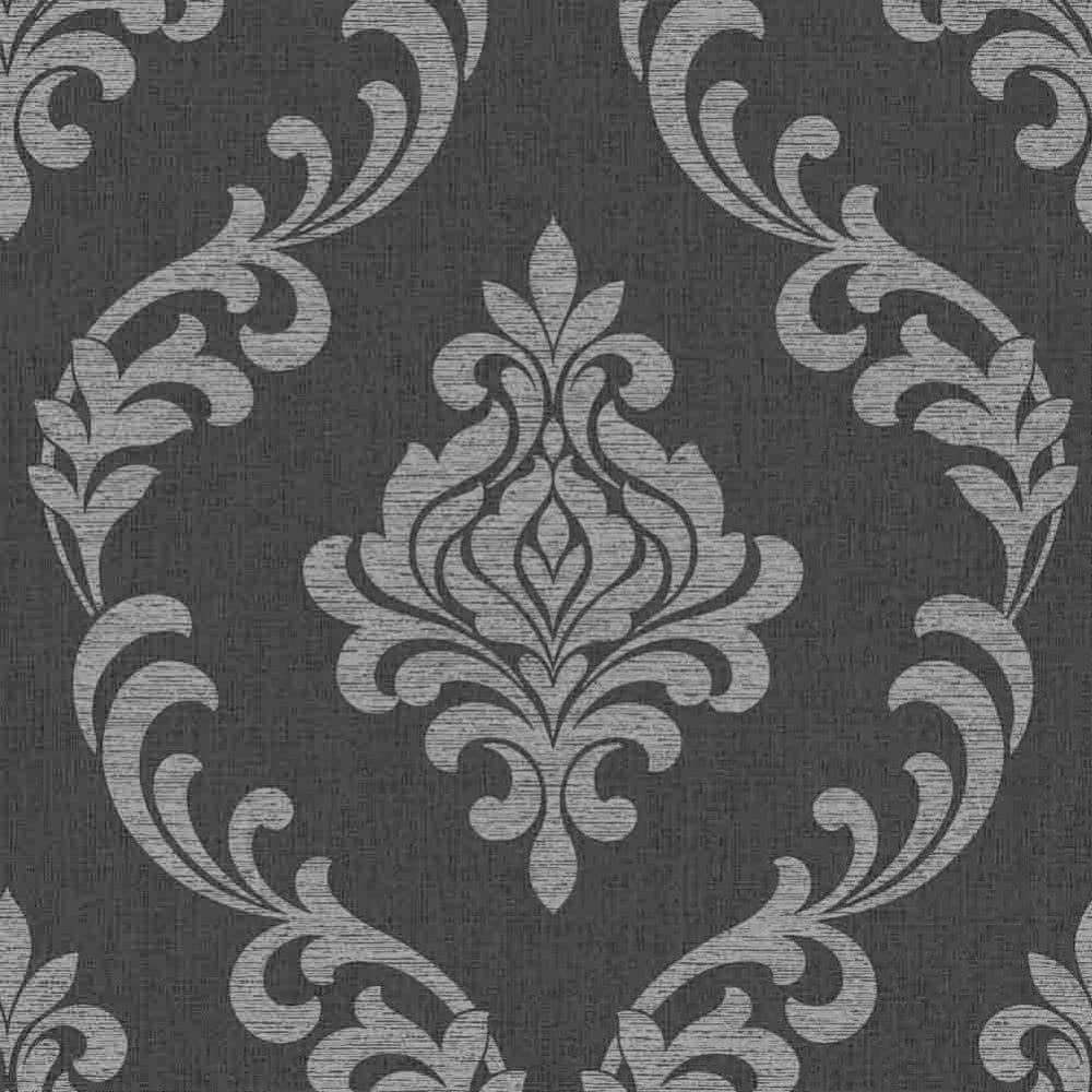Fine decor torino damask wallpaper black silver fd40076 for Black white damask wallpaper mural