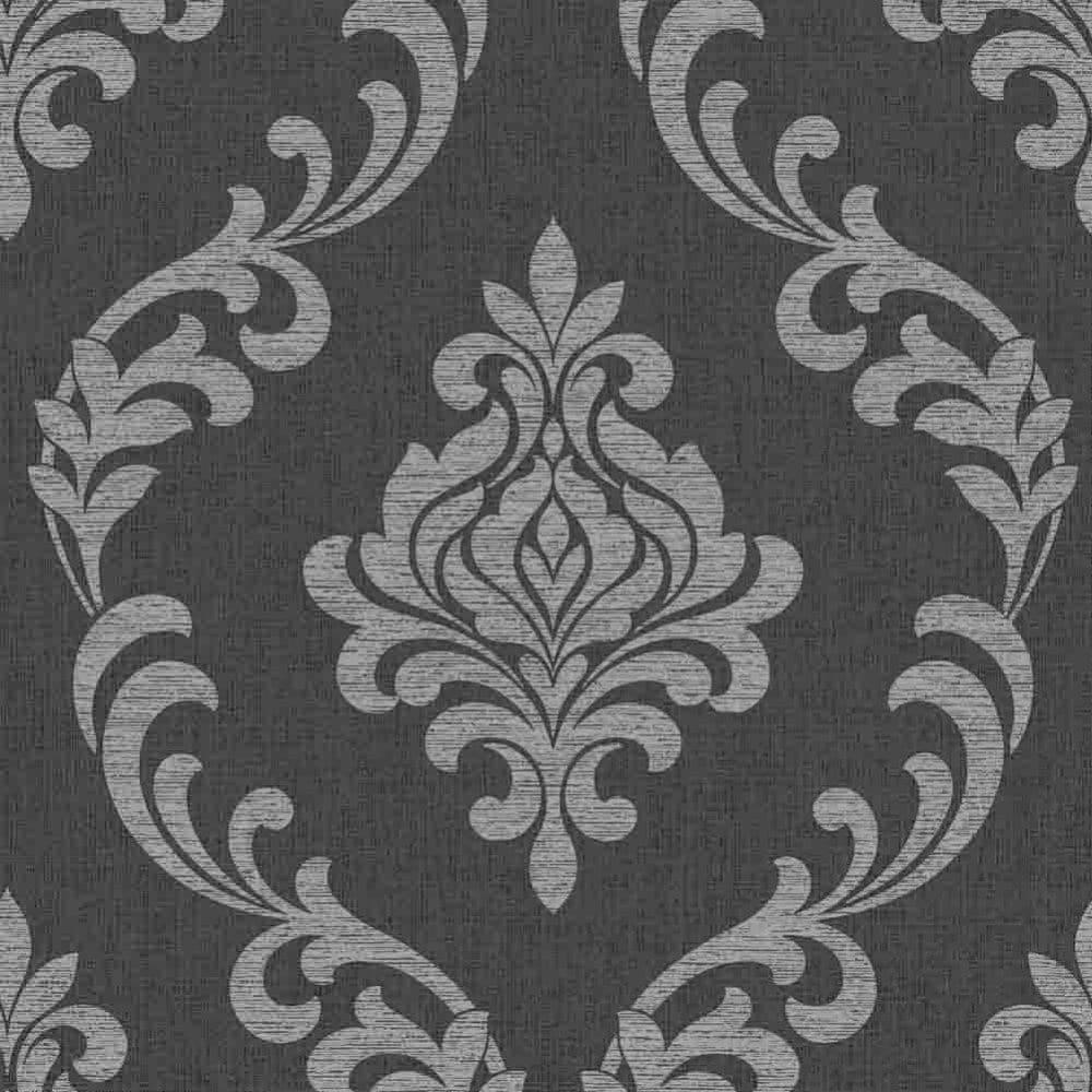 Torino Damask Wallpaper Black Silver Fd40076 Wallpaper From