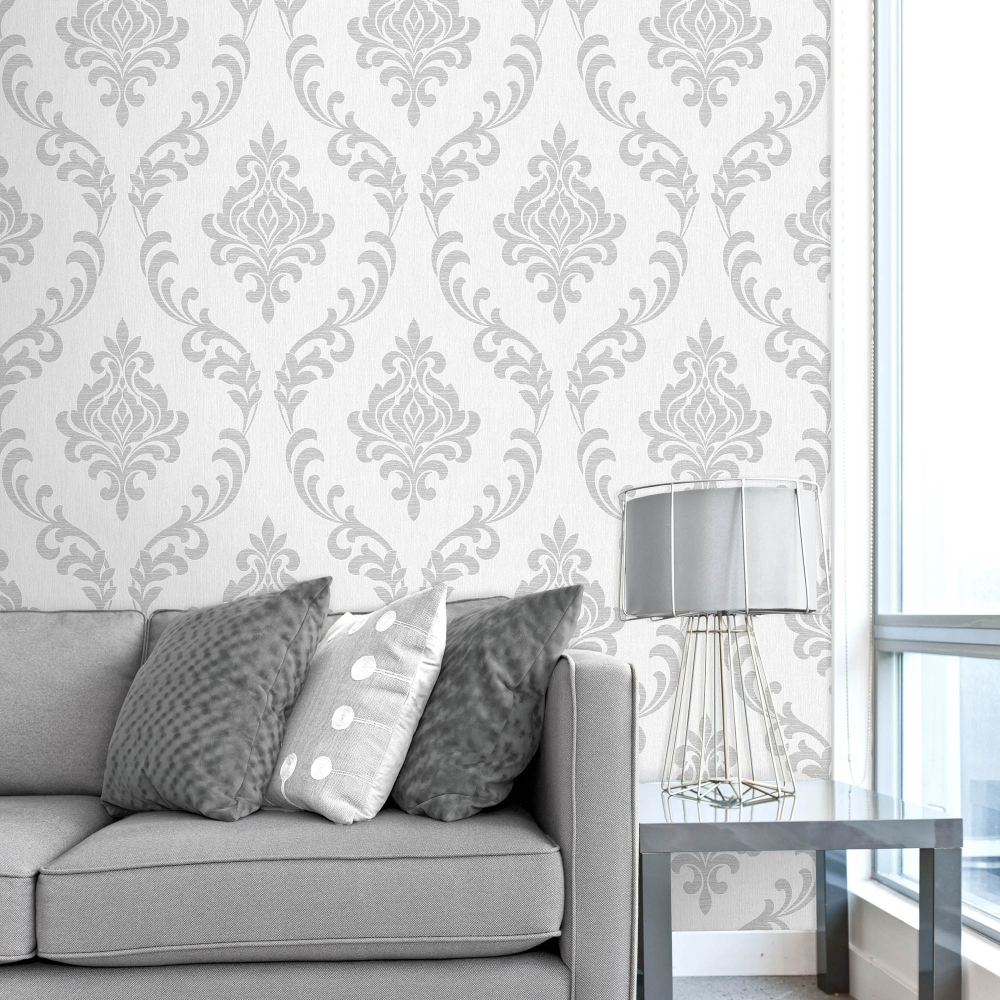 Fine Decor Torino Damask Wallpaper White, Silver (FD40191 ...
