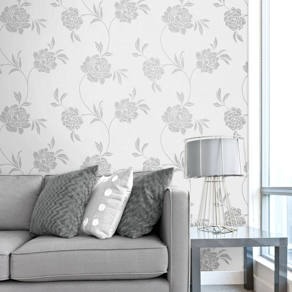 Silver wallpaper for living room home design for Wallpaper home decor uk