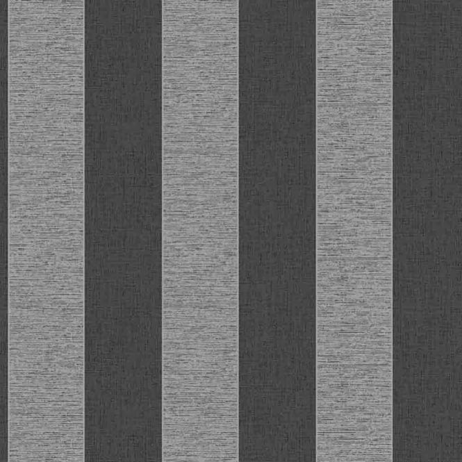 Fine Decor Torino Striped Wallpaper Black Silver