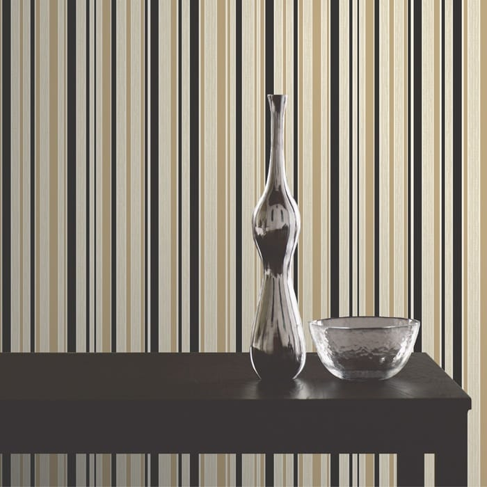 Buy Fine Decor Tulipa Stripe Wallpaper Black Gold Cream