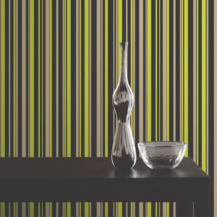 Buy Fine Decor Tulipa Stripe Wallpaper Black Gold Lime