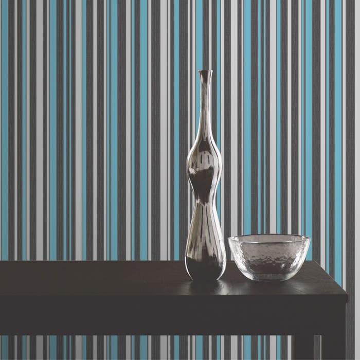 Buy Fine Decor Tulipa Stripe Wallpaper Charcoal Teal And
