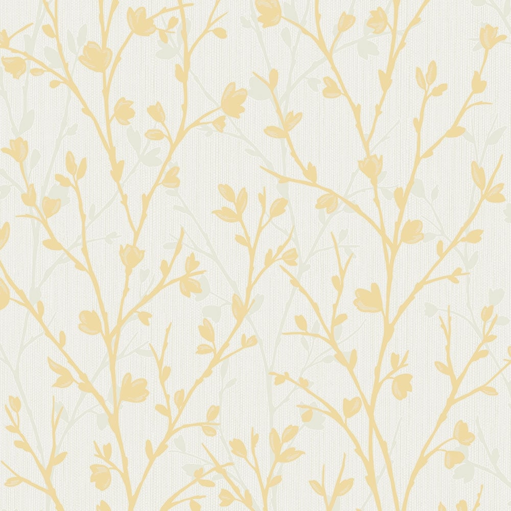 Fine decor twiggy floral wallpaper yellow fd42158 for Yellow wallpaper home decor