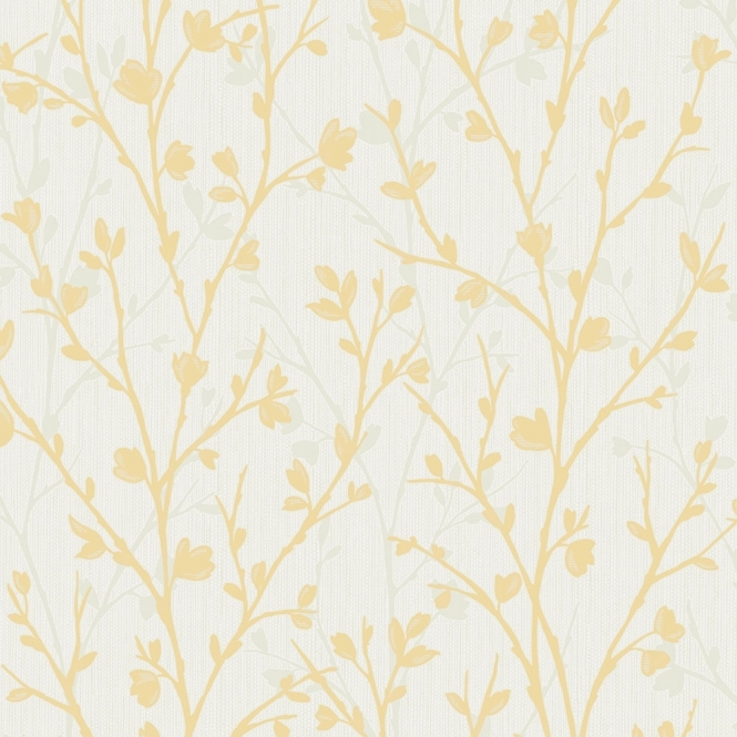 Fine Decor Twiggy Floral Wallpaper Yellow (FD42158)