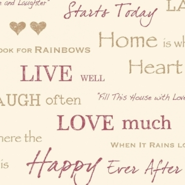 Wall Words Live Love Laugh Wallpaper Red / Gold / Cream (FD40430)
