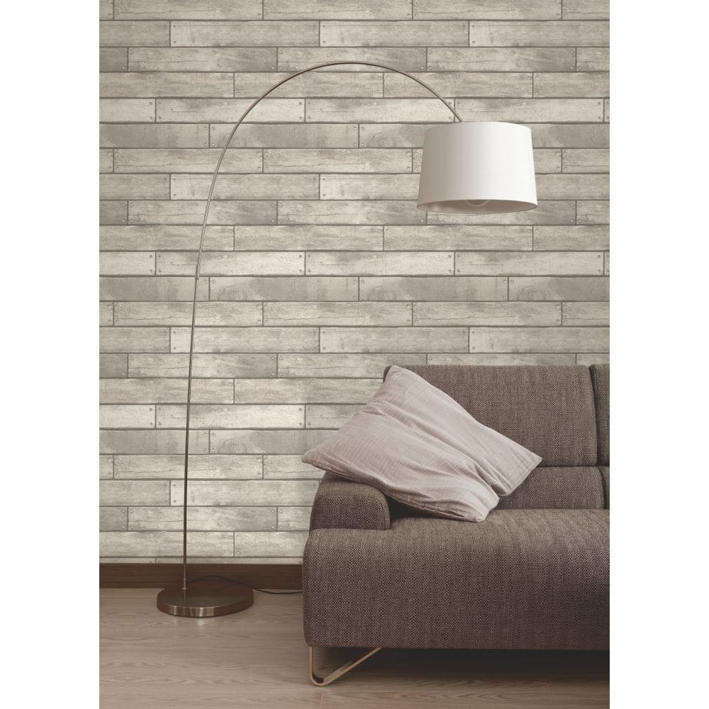 Wooden Plank Wallpaper White   Grey  FD31287. Fine Decor Wooden Plank Wallpaper White   Grey  FD31287