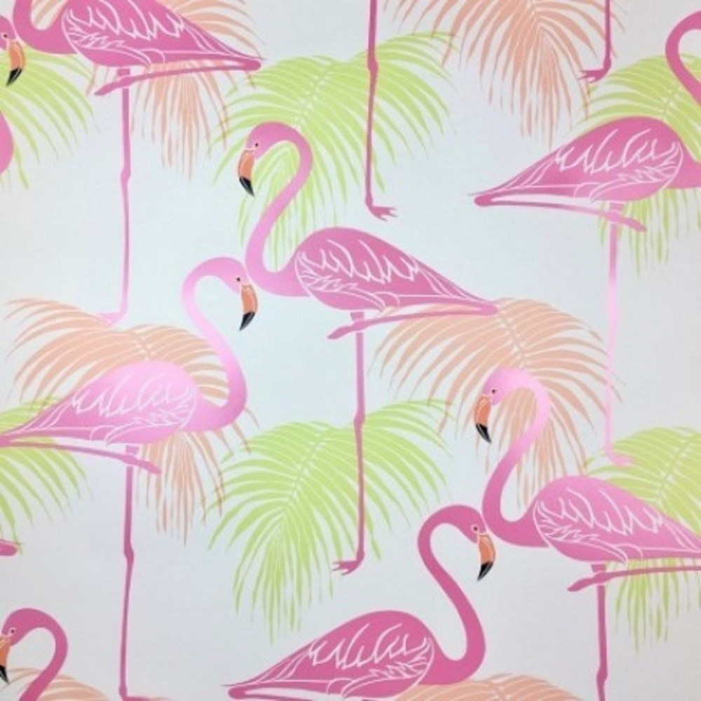 Fine Decor Flamingo Kids Wallpaper Pink Green Wallpaper