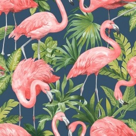 Flamingo Wallpaper Navy Blue
