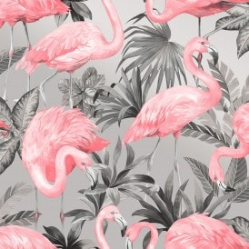 Flamingo Wallpaper Pink Soft Grey