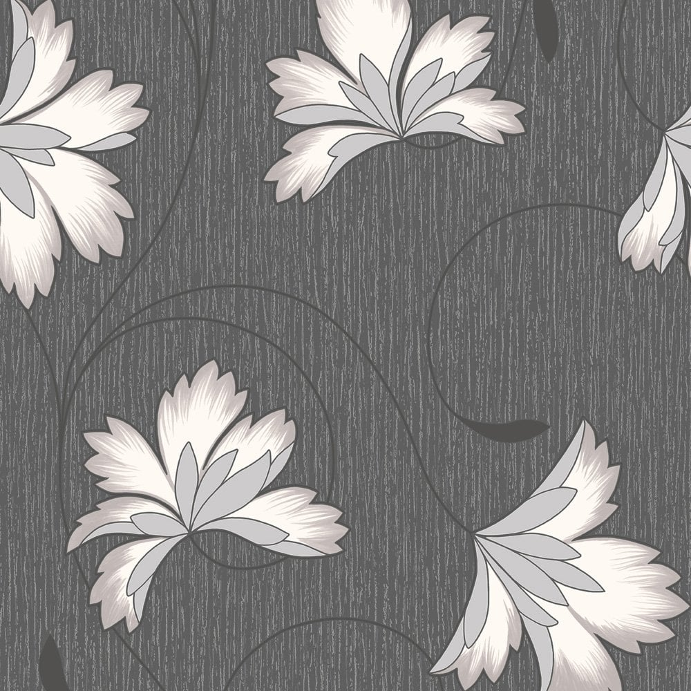 Buy Crown Flourish Wallpaper Jet Black Background Cream