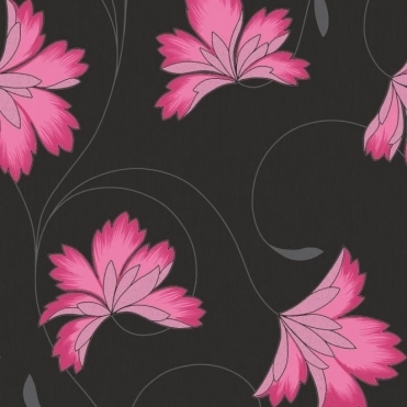 Flourish Floral Wallpaper Hot Berry Pink, Charcoal Black (M0657)
