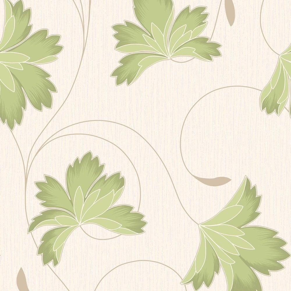 Buy Crown Flourish Wallpaper Apple Green Cream