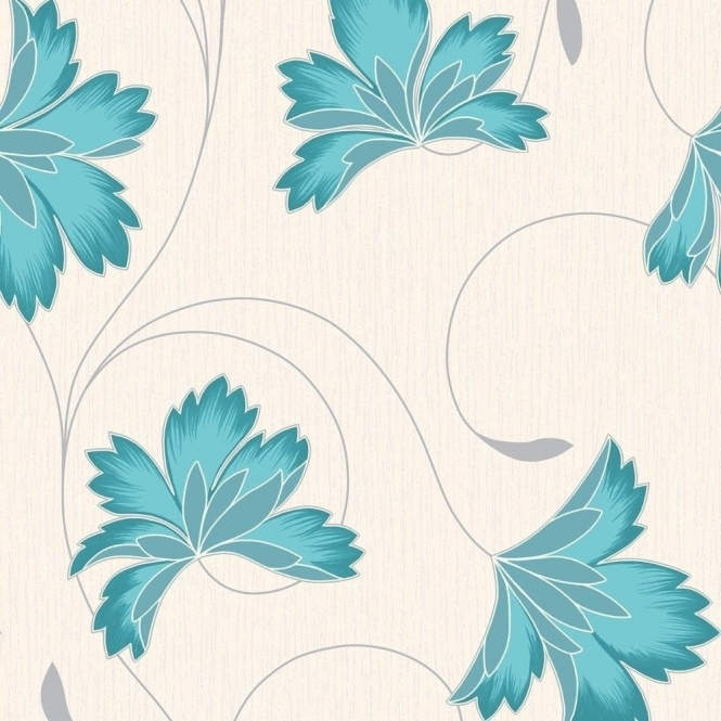 Crown Flourish Wallpaper Azure Blue / Cream (M0565)