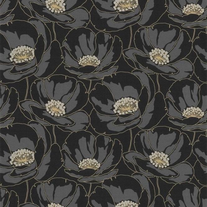 Casadeco Fluer Poppy Floral Wallpaper Black / Gold (16779136)