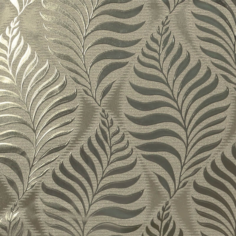 Arthouse Foil Embossed Leaf Wallpaper Natural Gold