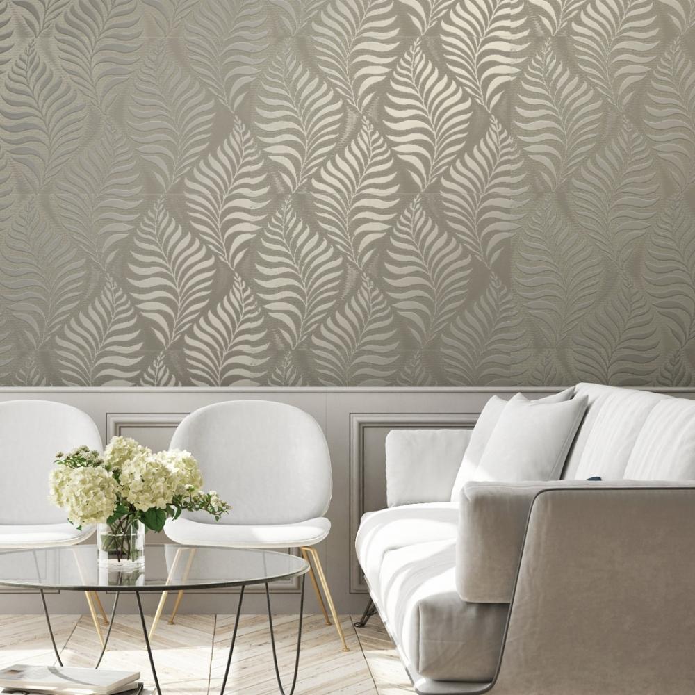 Foil Embossed Leaf Wallpaper Natural Gold Wallpaper From I Love