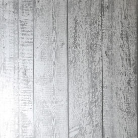 Foil Wood Metallic Wallpaper Mono Silver