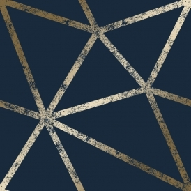 Framework Distressed Metallic Wallpaper Navy Gold