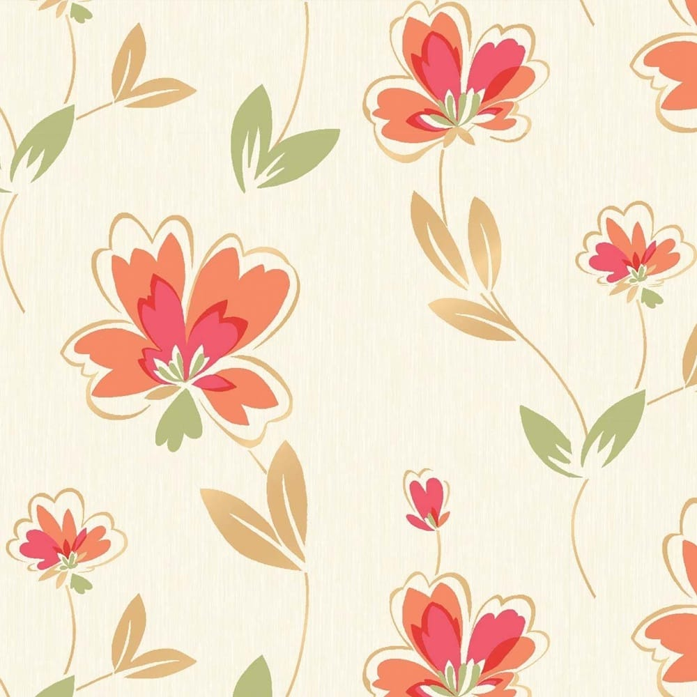 Fresh Floral Wallpaper Cream Orange Green M0776 Wallpaper