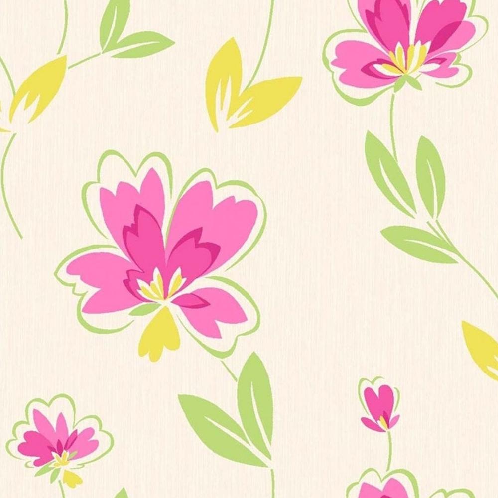 Fresh Floral Wallpaper Pink Green Yellow M0777 Wallpaper
