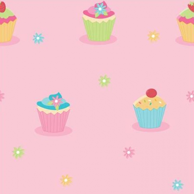 Fun4Walls Cupcake & Flowers Childrens Wallpaper (WP30184)