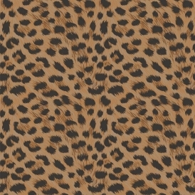 Furs Leopard Animal Print Wallpaper Natural Orange, Black (FD30681)