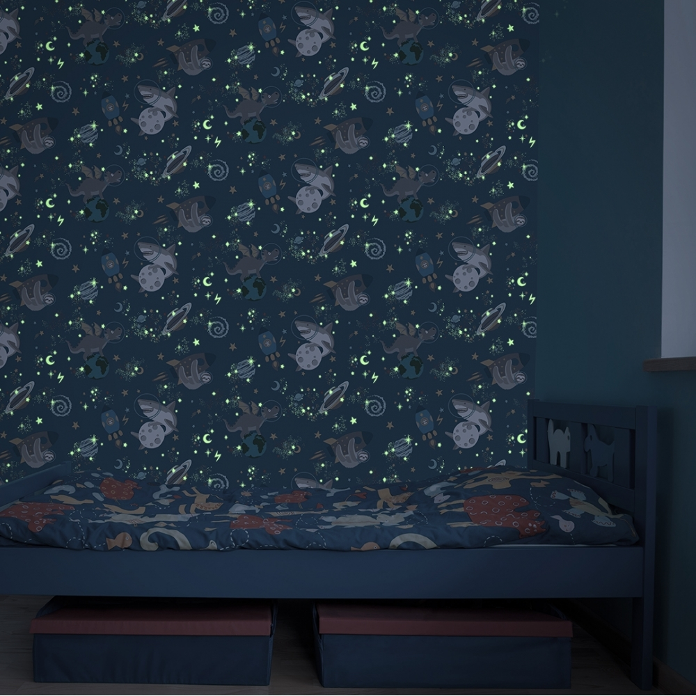 Galactic Glow In The Dark Wallpaper Blue