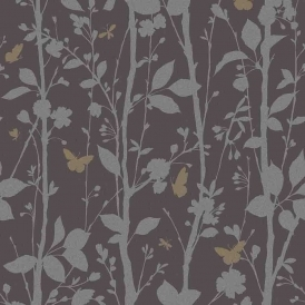 Geo Butterflies Glitter Wallpaper Black / Silver / Gold (FD40929)