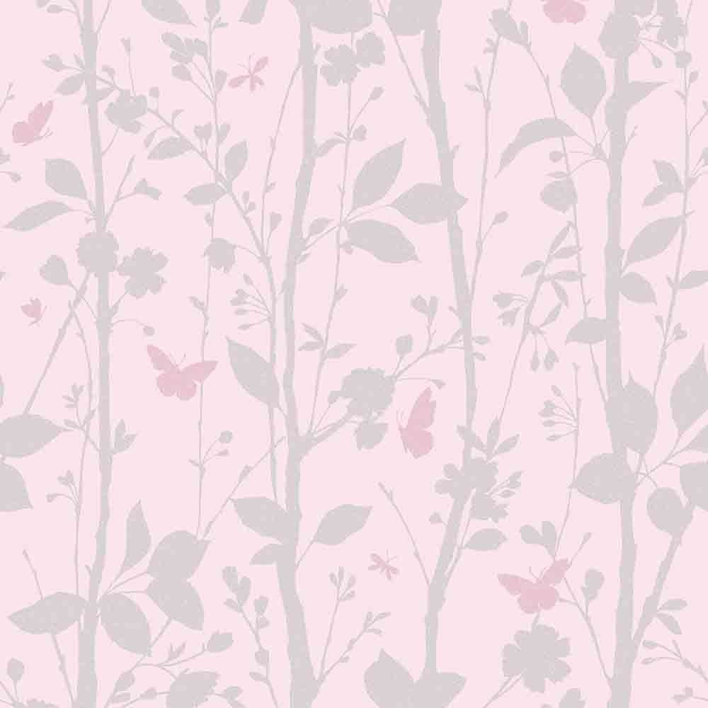Fine Decor Geo Butterflies Glitter Wallpaper Pink Silver