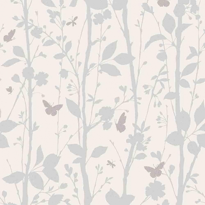 Fine Decor Geo Butterflies Glitter Wallpaper White / Silver / Taupe (FD40930)