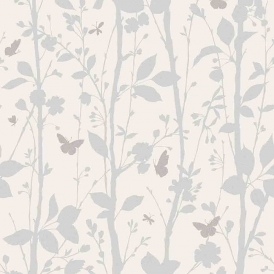Geo Butterflies Glitter Wallpaper White Silver Taupe