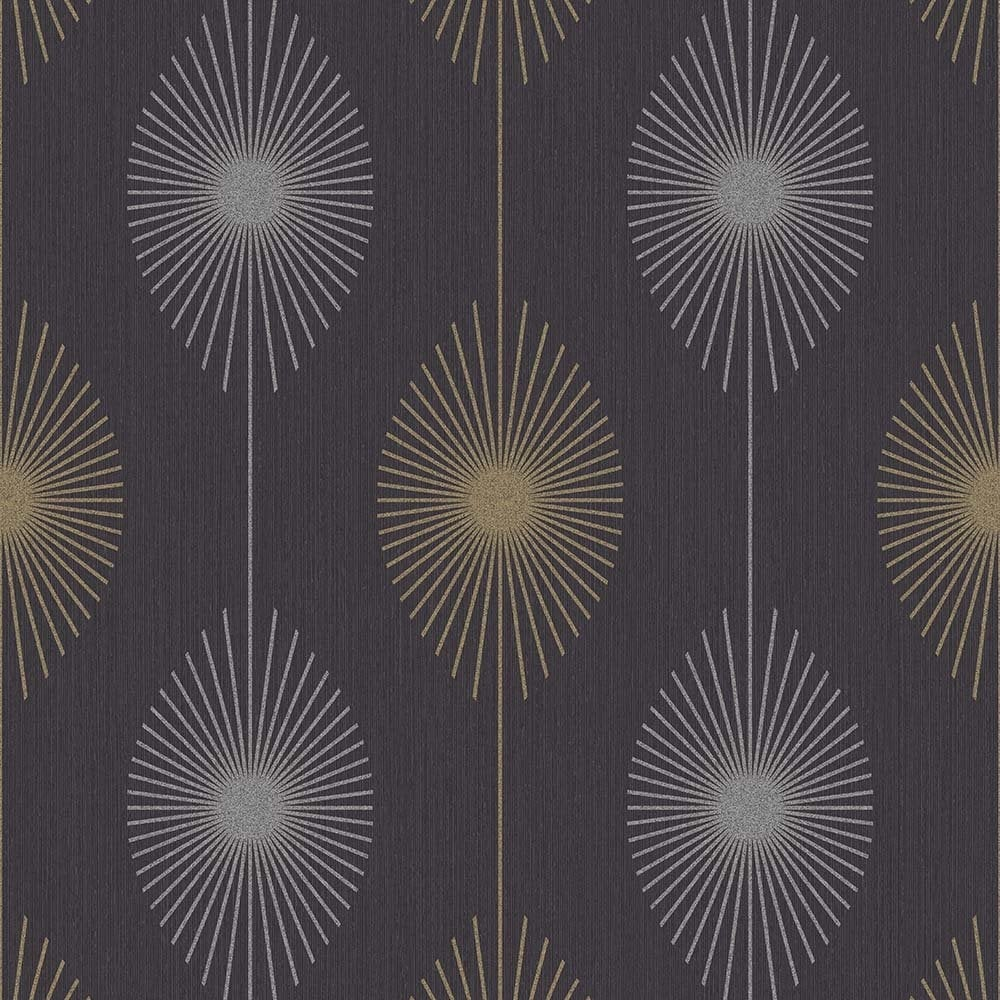 Fine Decor Geo Starburst Glitter Wallpaper Black Silver Gold Fd40933 Wallpaper From I Love Wallpaper Uk